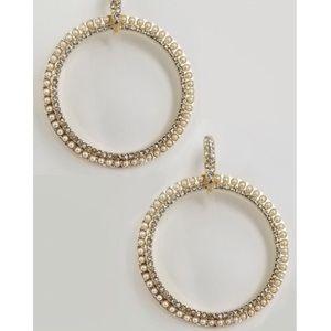 Stunning Pearl Rhinestone Gold Hoop Earrings!